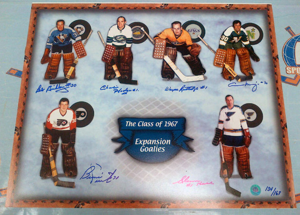 1967 Expansion Goalie 16x20 Photo #/167 *6 AUTOGRAPHS* *PARENT, HALL, ETC* *Slight Bends in Bottom Right Corner*
