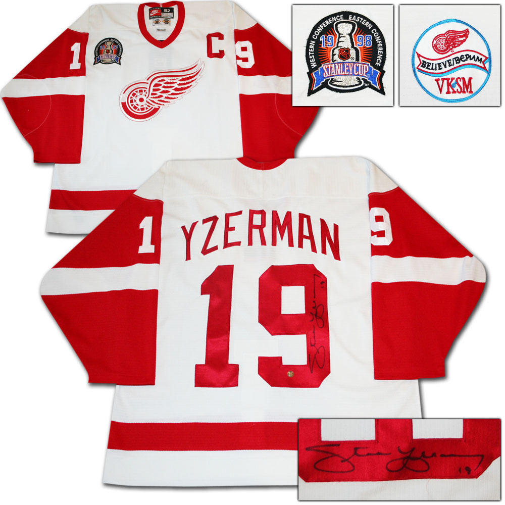 Steve Yzerman Autographed Detroit Red Wings Authentic Nike Pro Jersey w/1997 Stanley Cup Final Patch & Believe VKSM Patch