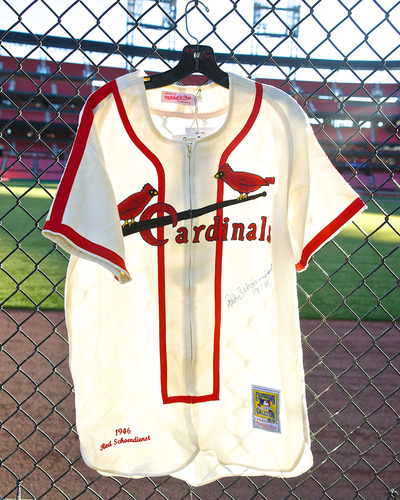Photo of Cardinals Authentics: Autographed Cooperstown Collection replica 1946 Red Schoendienst Jersey