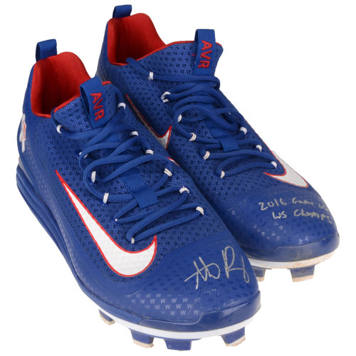 Photo of Anthony Rizzo Chicago Cubs Autographed 2016 Game-Used Pair of Cleats with 2016 Game Used, WS Champs Inscriptions