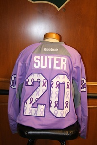 2014-15 Signed Suter Hockey Fights Cancer Jersey