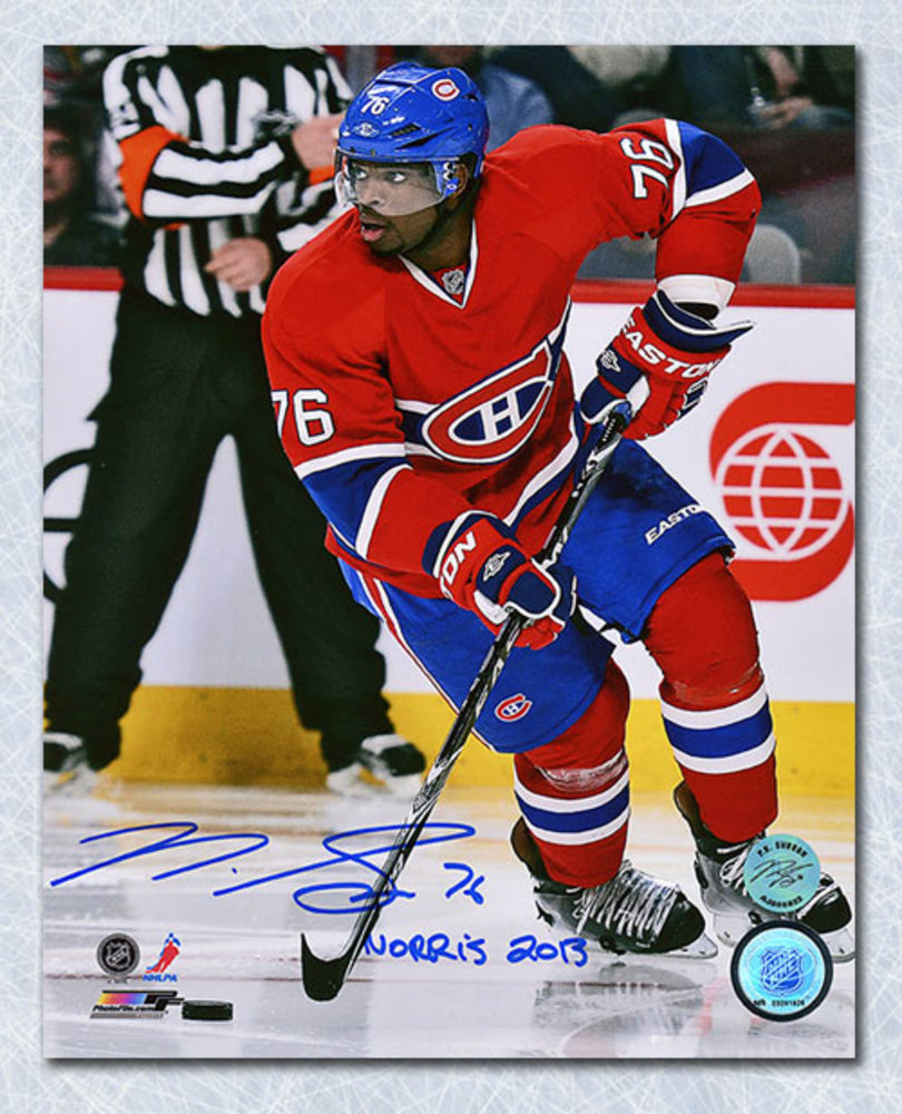 P.K. Subban Montreal Canadiens Autographed Defence 8x10 Photo w 2013 Norris Note
