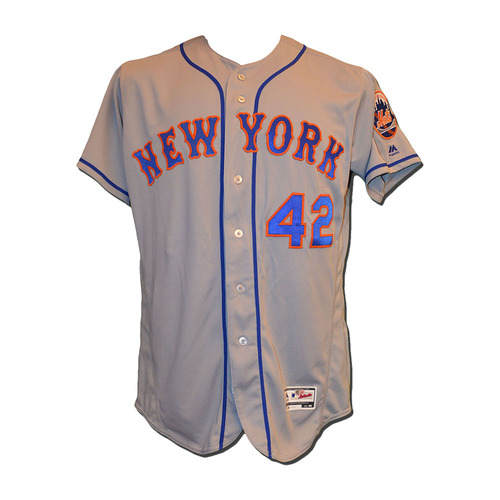 Photo of Jacob deGrom #48 - Game Used Jackie Robinson Jersey - deGrom 7 IP, 13 Strikeouts - Mets vs. Marlins - 4/15/17