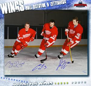 BRETT HULL, PAVEL DATSYUK, & HENRIK ZETTERBERG Signed Detroit Red Wings 16 X 20 Skating Photo