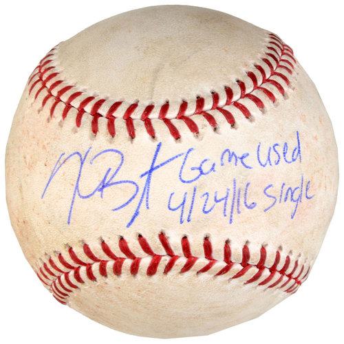 Photo of Kris Bryant Chicago Cubs Autographed Game-Used Single Baseball from April 24, 2016 at Cincinnati Reds with Game Used 4/24/16, Single Inscription