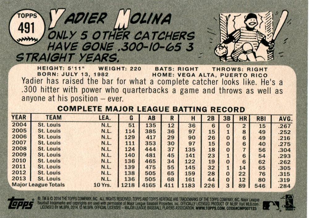 2014 Topps Heritage Black Back #491 Yadier Molina