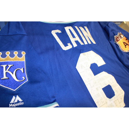 Photo of Lorenzo Cain Spring Training Game-Used Jersey (4/14/17 LAA at KC) (Size 46)