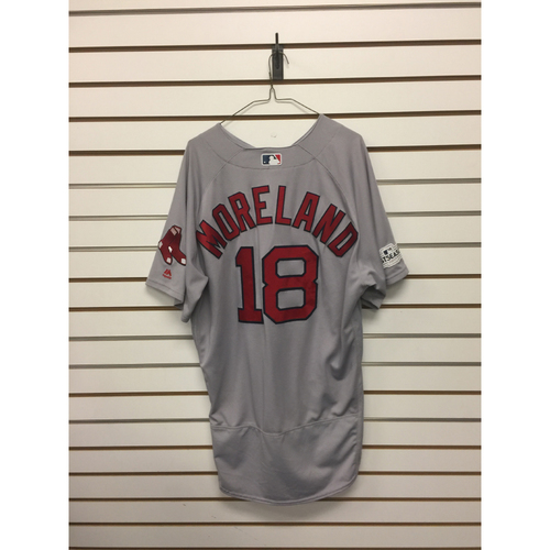 Photo of Mitch Moreland Game-Used October 5, 2017 ALDS Game 1 Road Jersey