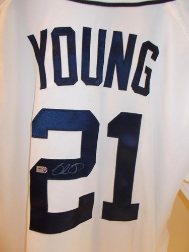 Photo of Autographed Delmon Young Home Jersey