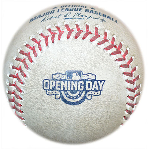 Photo of Game Used Baseball - 2017 Opening Day - Jose Ramirez to Wilmer Flores - 7th Inning - Mets vs. Braves - 4/3/17