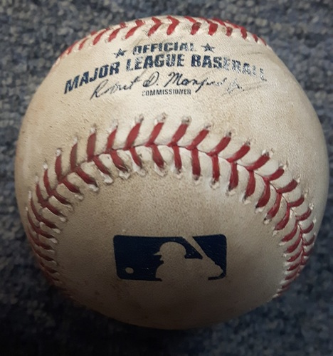 Photo of Authenticated Game Used Baseball - RBI Single by Mike Trout (July 28, 2017 vs J.A. Happ in the Top of the 4th)