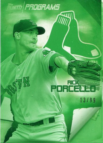 Photo of 2017 Topps Bunt Programs Green Rick Porcello 13/99 -- Red Sox post-season