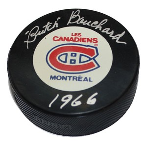 Emile Bouchard Autographed Montreal Canadiens Game Puck