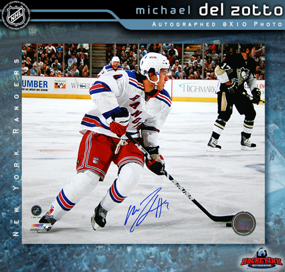 MICHAEL DEL ZOTTO Signed New York Rangers 8 X 10 Photo - 70472