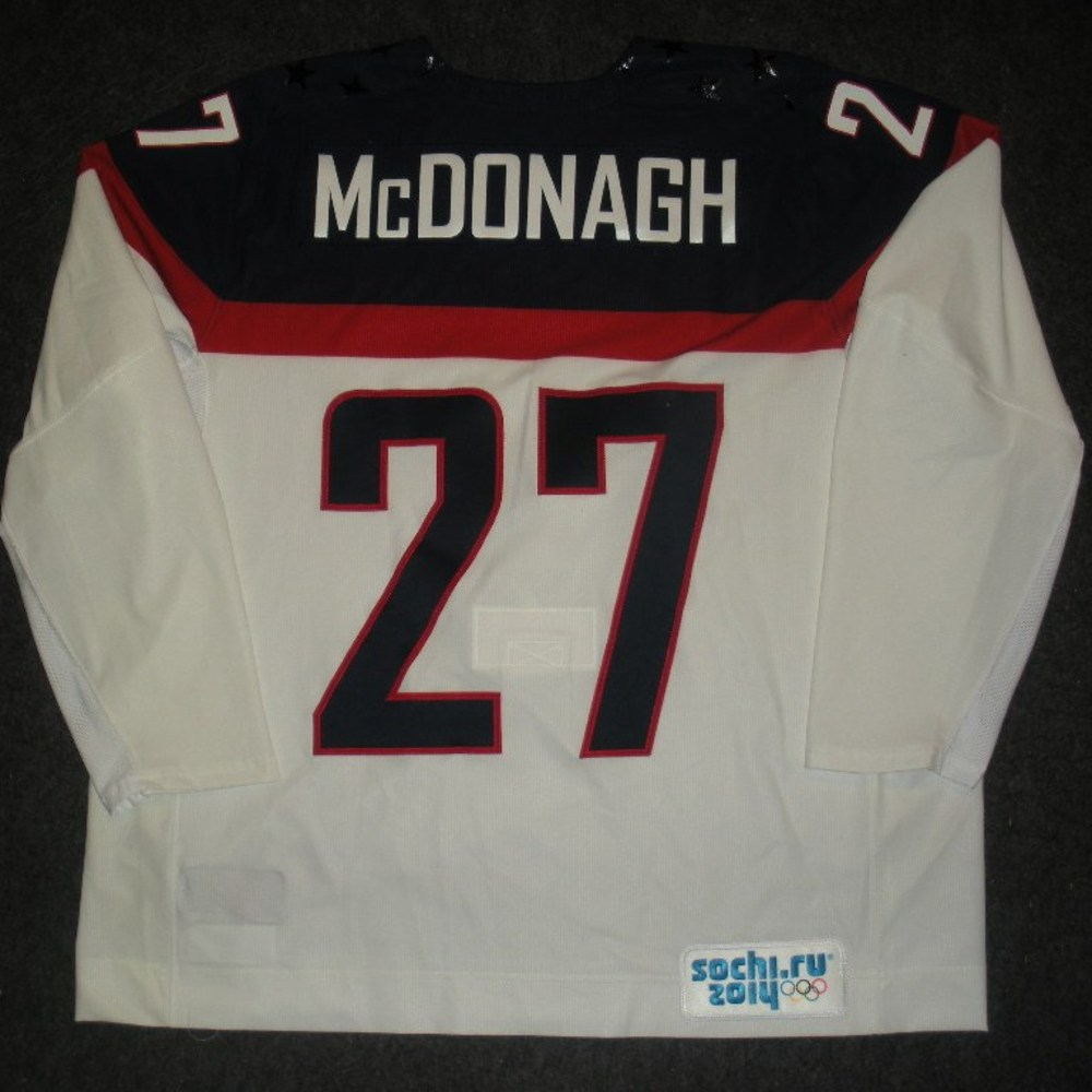Ryan McDonagh - Sochi 2014 - Winter Olympic Games - Team USA White Game-Worn Jersey - Worn in 2nd and 3rd Periods vs. Slovakia, 2/13/14