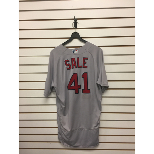Photo of Chris Sale Game-Used August 29, 2017 Road Jersey - Win #15 of the season, 1500 Career Strikeouts