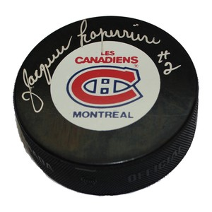 Jacques Laperriere Autographed Montreal Canadian Puck