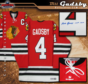 BILL GADSBY Signed Chicago Blackhawks Vintage CCM Red Jersey