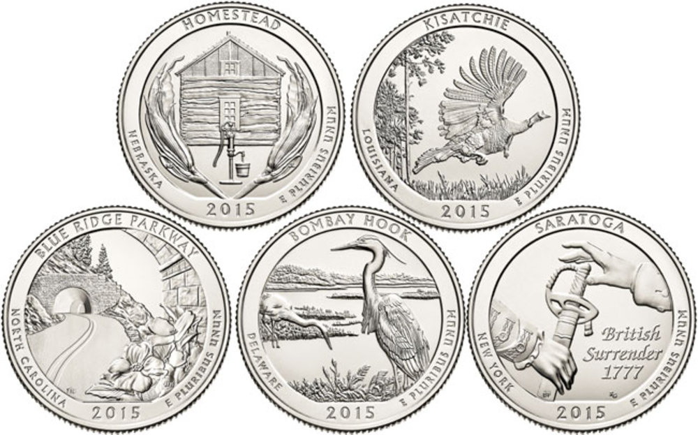 uBid: US Mint 2015 COMPLETE BU 5 Coin Set National Park Quarters
