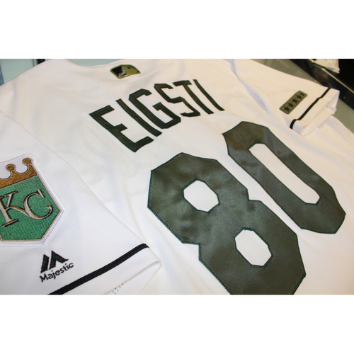 Photo of Ryan Eigsti Memorial Day Game-Used Jersey (5/29/17 DET at KC) (Size 46)