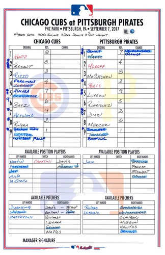 Photo of Game-Used Lineup Card -- Lester 10th Win (6 IP, 1 ER, 5 K -- Almora 6th HR -- Cubs at Pirates -- 9/7/17