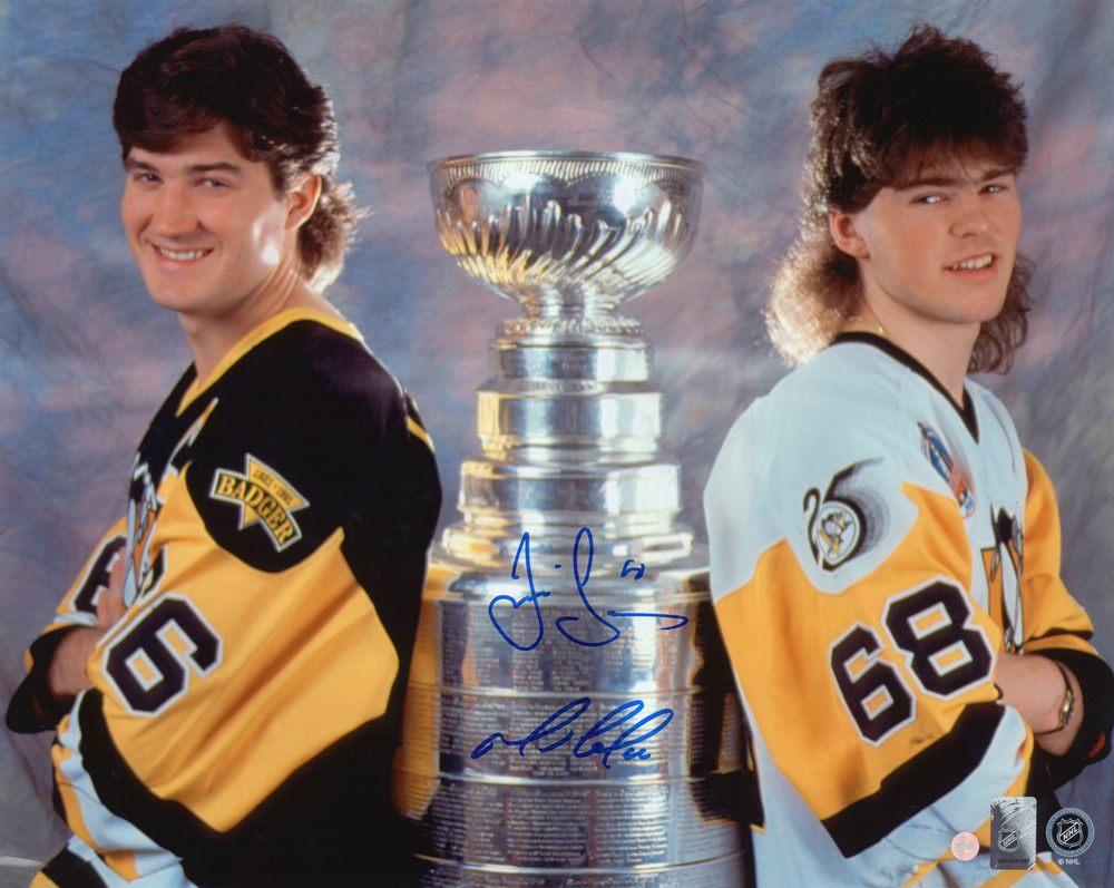 Mario Lemieux & Jaromir Jagr - Dual-Signed Pittsburgh Penguins 16x20 Unframed Back to Back Champions
