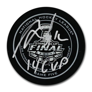 Marian Gaborik Autographed 2014 Stanley Cup Final Official Game Five Puck w/14 CUP Inscription (Los Angeles Kings)