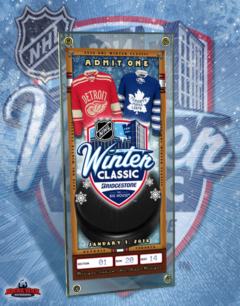 2014 NHL WINTER CLASSIC - Commemorative Ticket & Display Case - Detroit Red Wings - Toronto Maple Leafs