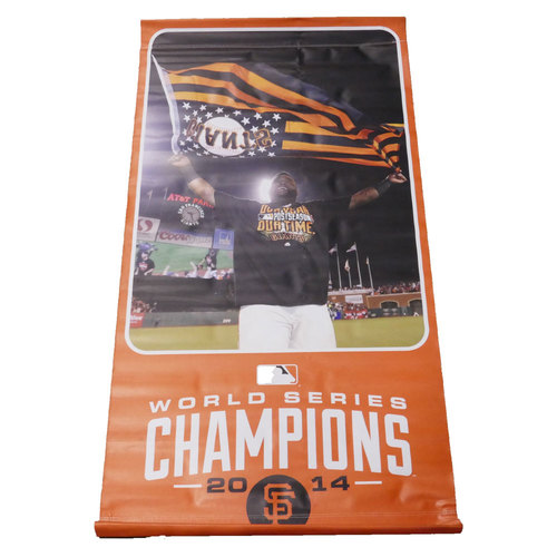 Photo of San Francisco Giants - 2014 Vinyl Street Banner - Pablo Sandoval - World Series Champions