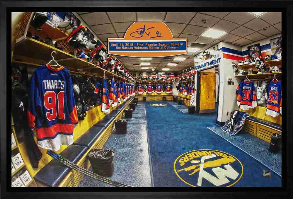 John Tavares - Signed & Framed 20x29 Canvas - New York Islanders Blue Final Game Locker Room