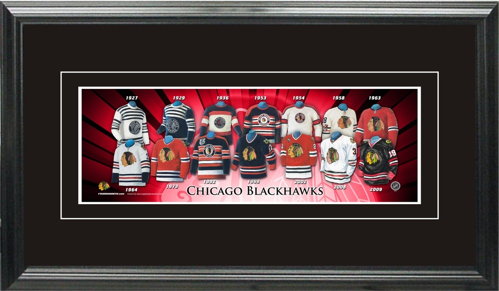 Chicago Blackhawks 5x15 Framed Jersey Evolution Print