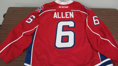 AHL RED GAME ISSUED BRYAN ALLEN JERSEY (1 OF 2)