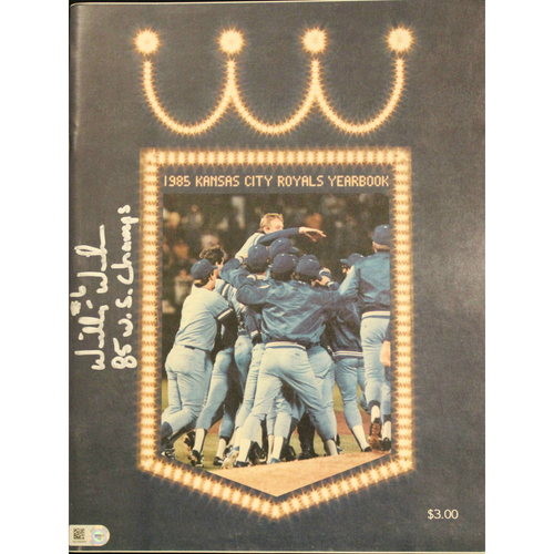 1985 Kansas City Royals Yearbook Autographed by Willie Wilson
