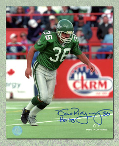 Dave Ridgway Saskatchewan Roughriders Autographed Action 8x10 Photo
