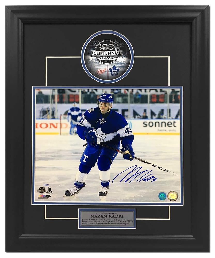 Nazem Kadri Toronto Maple Leafs Signed 2017 Centennial Classic 23x19 Frame /100