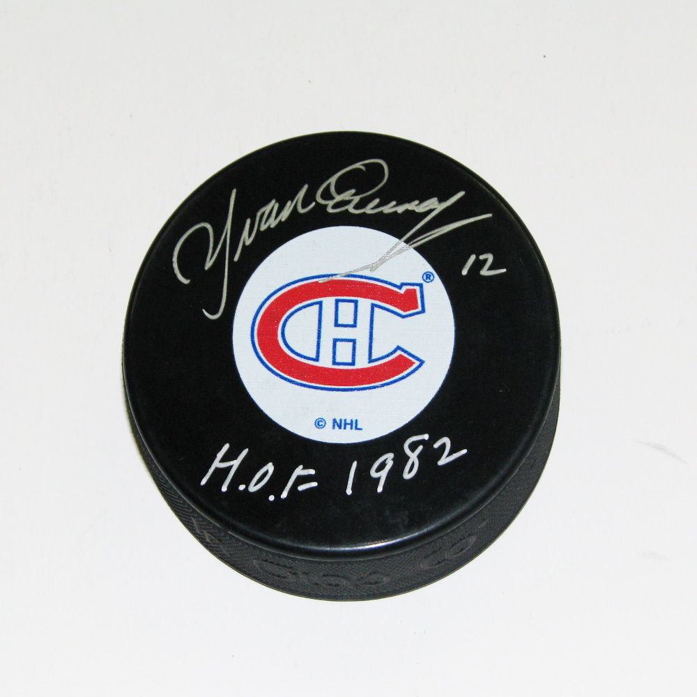 YVAN COURNOYER Signed Montreal Canadiens Original 6 Logo Puck - HOF