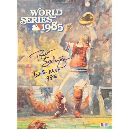 Photo of 1985 World Series Official Program Autographed by Bret Saberhagen