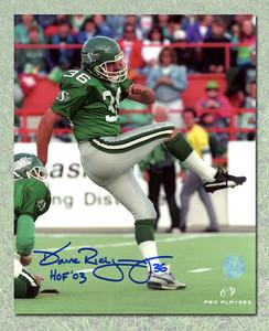 Dave Ridgway Saskatchewan Roughriders Autographed Kicking 8x10 Photo