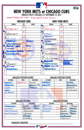 Photo of Game-Used Lineup Card -- Lester 11th Win (6 IP, 2 ER, 5 K) -- Baez 22nd HR -- Almora 7th HR, 6 RBI -- Mets vs. Cubs -- 9/13/17