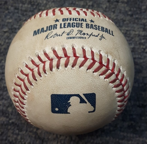 "Photo of Authenticated Game Used Baseball - Double by Darwin Barney followed by ""Swimming Slide"" into 3rd on error (Bottom 2 vs Ubaldo Jimenez - September 11, 2017)"