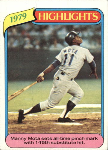 Photo of 1980 Topps #3 Manny Mota HL