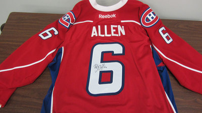 AHL RED GAME ISSUED BRYAN ALLEN JERSEY SIGNED