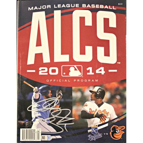 Photo of 2014 ALCS Official Program Autographed by Alex Gordon