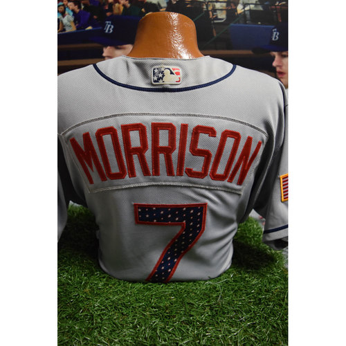 Photo of 2017 Game-Used July 4th Jersey: Logan Morrison