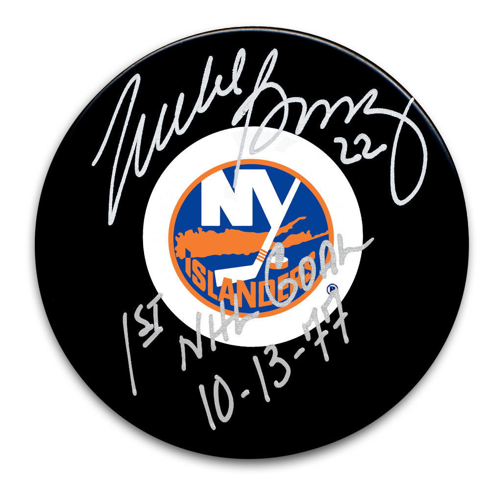 Mike Bossy New York Islanders 1st NHL Goal 10/13/77 Autographed Puck