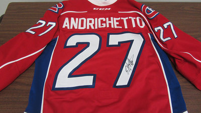 AHL RED GAME ISSUED SVEN ANDRIGHETTO JERSEY SIGNED