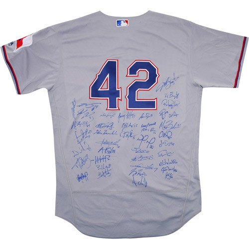 Photo of 2017 Jackie Robinson Day Jersey - Texas Rangers Team Autographed Jersey