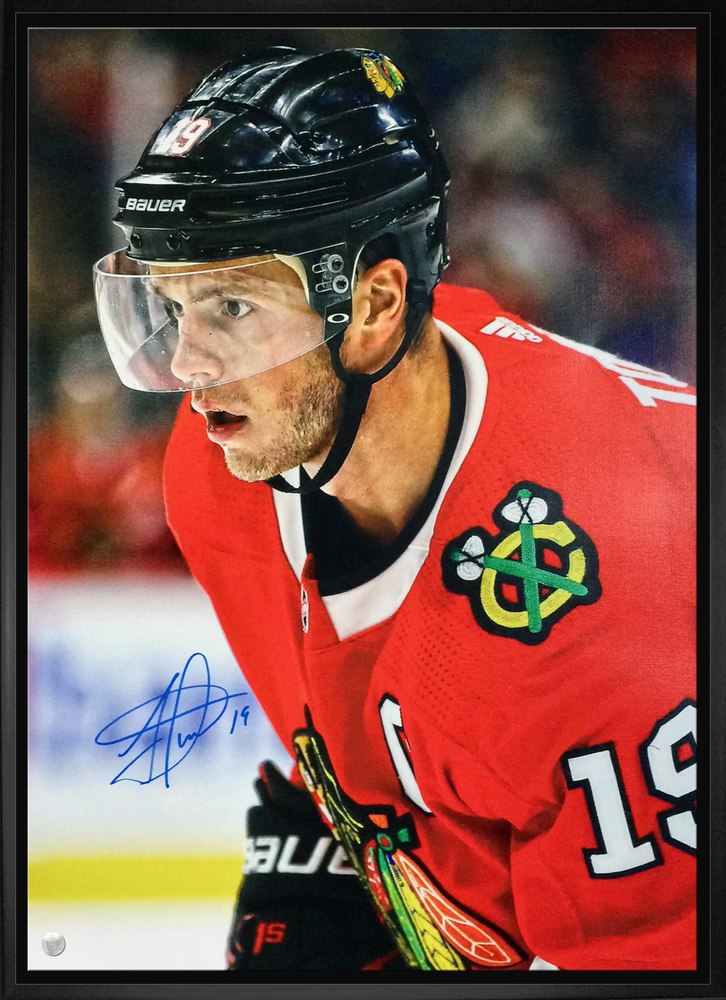 Jonathan Toews - Signed 20x29 Framed Canvas Blackhawks Close-Up