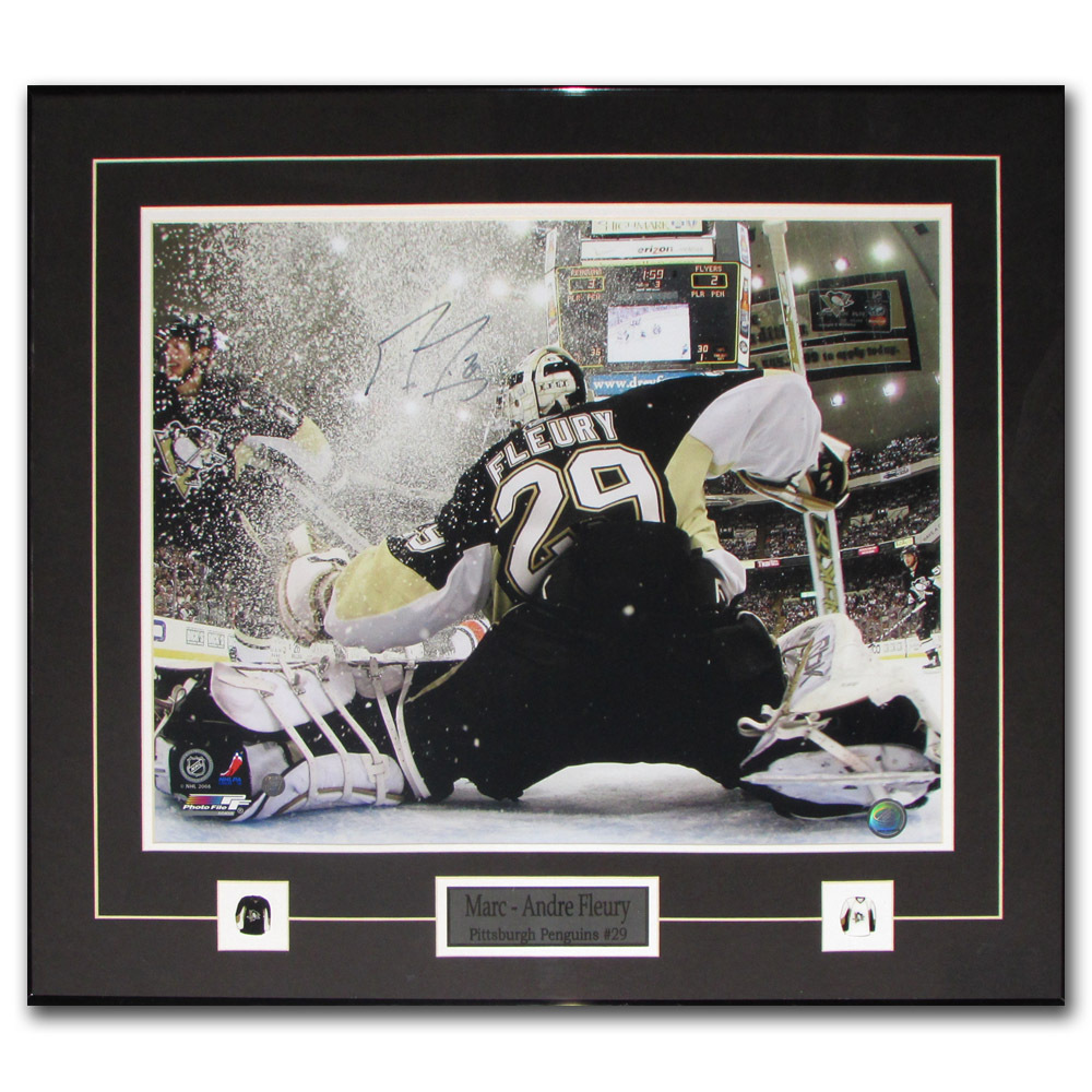Marc-Andre Fleury Autographed Pittsburgh Penguins Framed 16X20 Photo