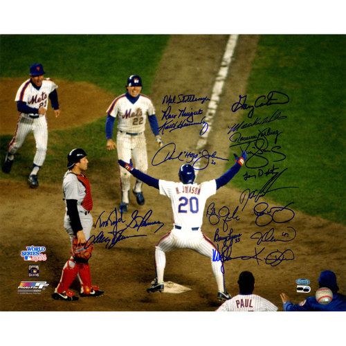 Photo of 1986 Mets Multi-Signed Johnson at Home Plate 16x20 Photo w/ Gary Carter